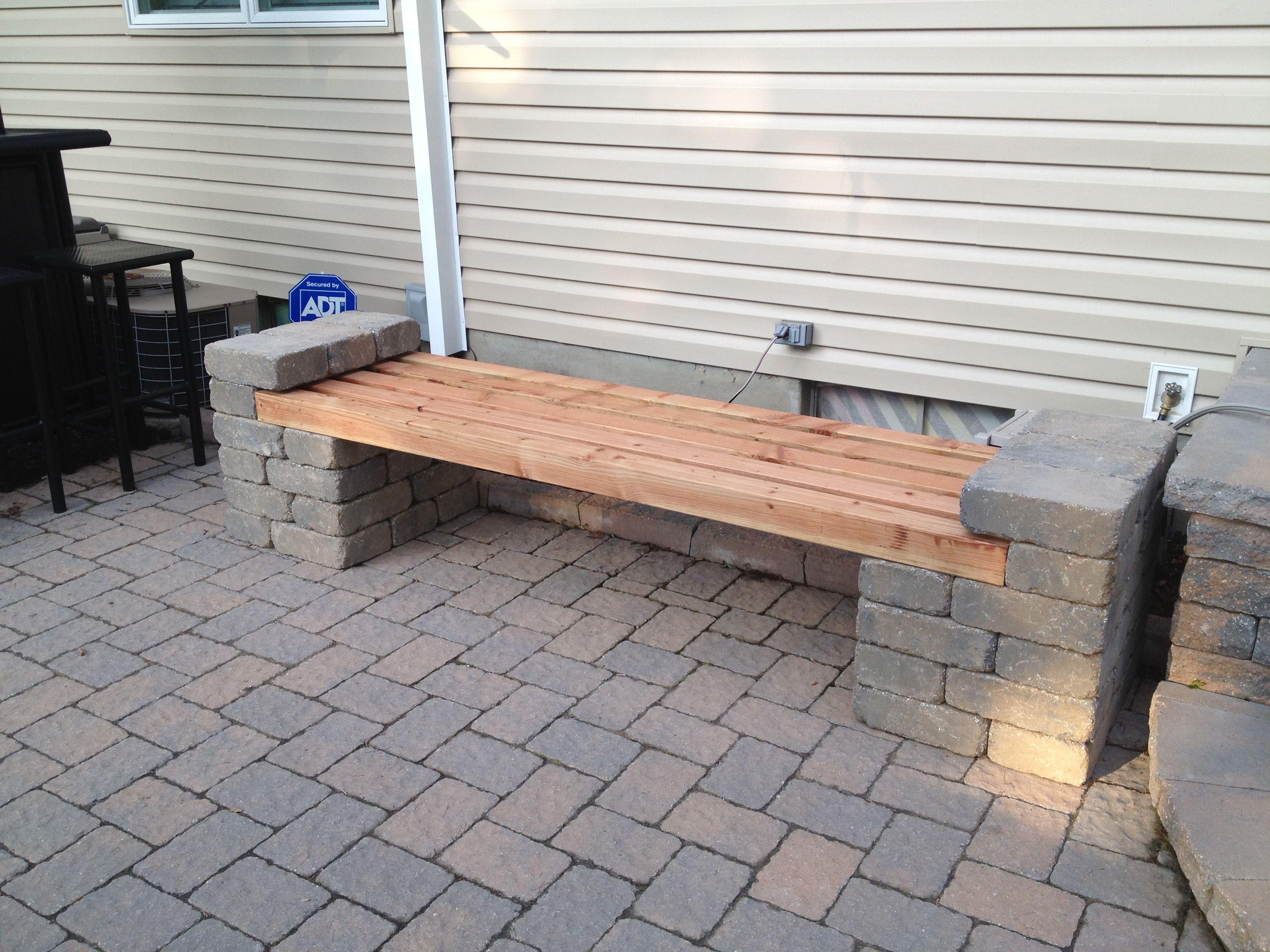 Patio Block And Wood Bench Design In 2019 Blocks
