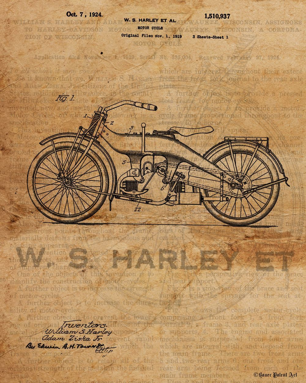 5357602a VINTAGE PATENT DRAWING of Harley Davidson Canvas Print | Products ...