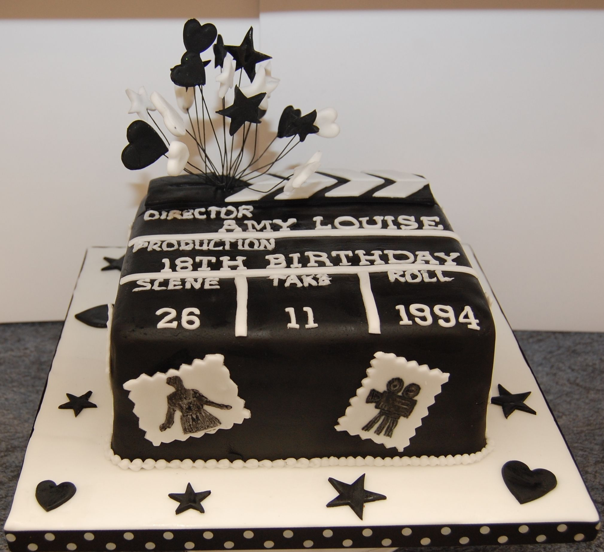 Google themes hearts - Amys 18th Birthday Cake Clapperboard Black And White Icing Stars Hearts And Move Theme 2 18th