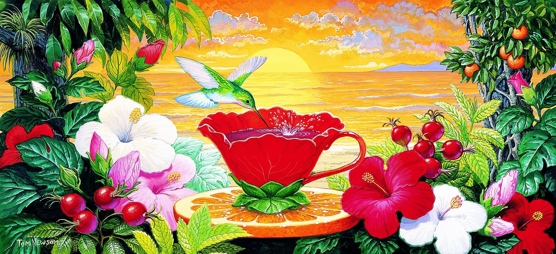 Днем рождения, сказочный цветок открытка
