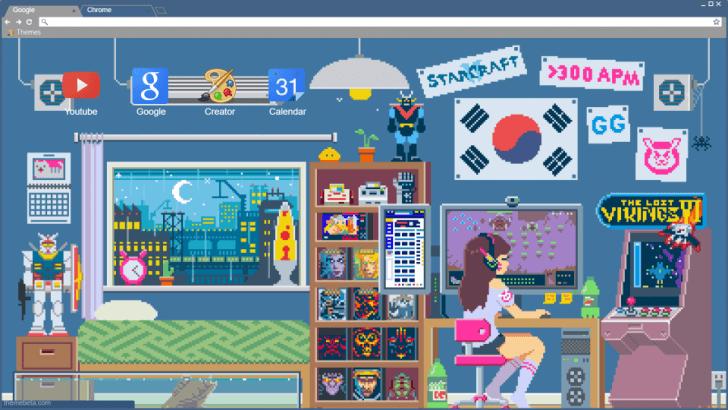 Pixel Art Gaming Room Chrome Theme Themebeta Pixel Art Theme Pixel