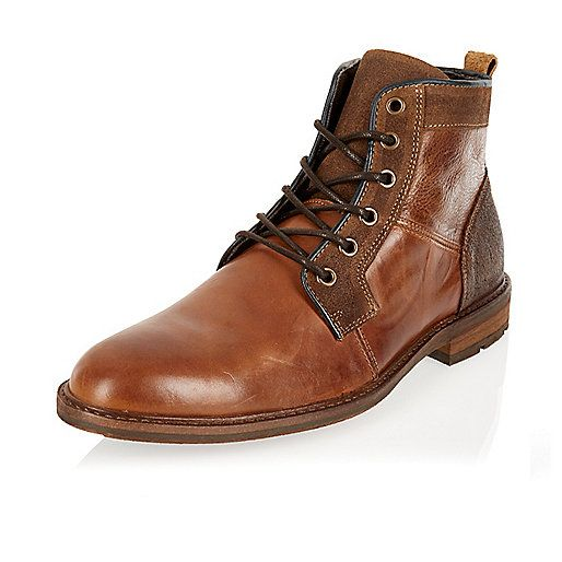Brown leather smart worker boots