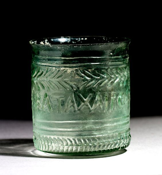 Roman inscribed glass beaker, 1st century A.D. Private collection For more inscribed glass please visit https://it.pinterest.com/andreacanecane/ancient-glass-inscribed-glass/