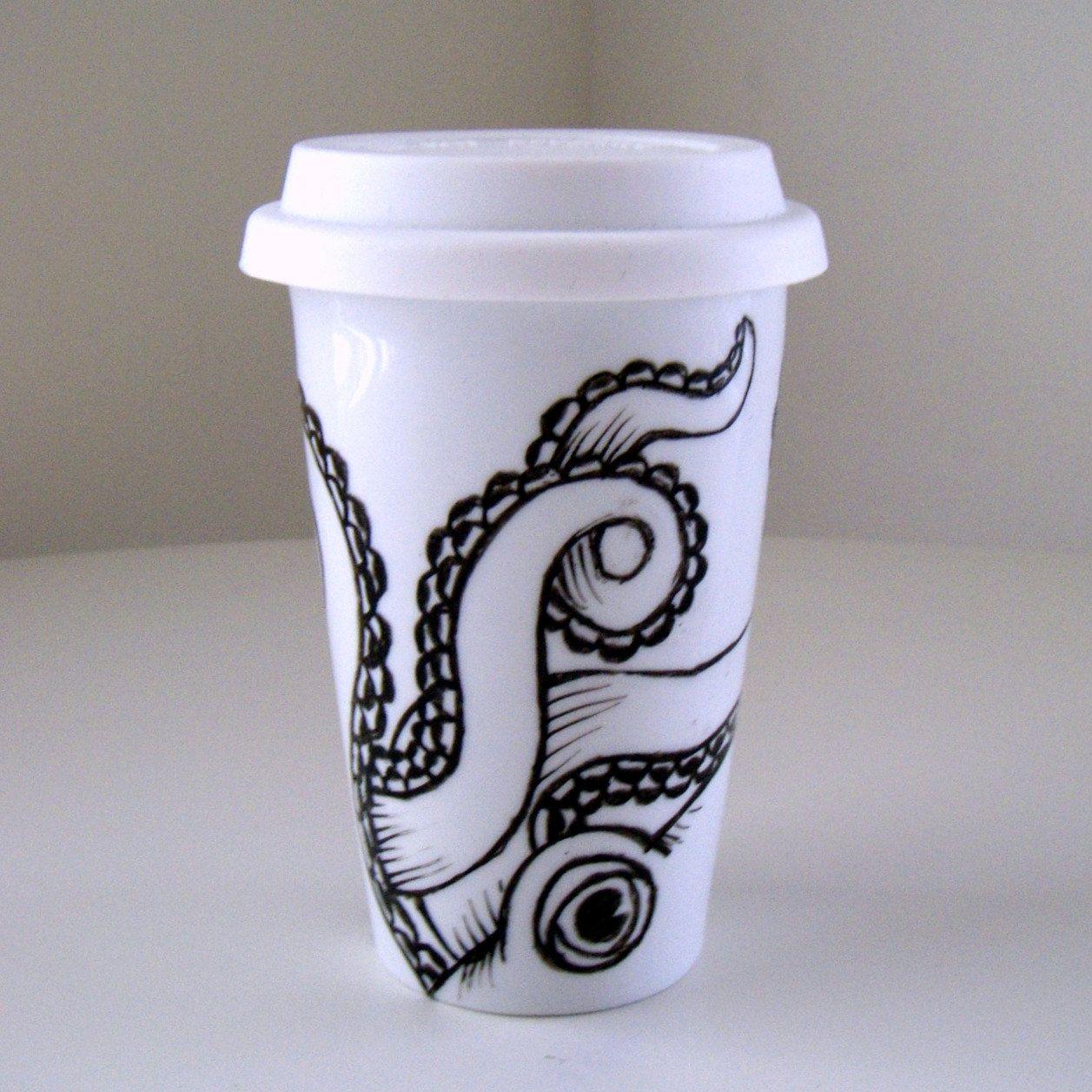 Octopus Ceramic Travel Mug Coffee In Style Starbucks Cup Art Mugs Coffee Cup Art