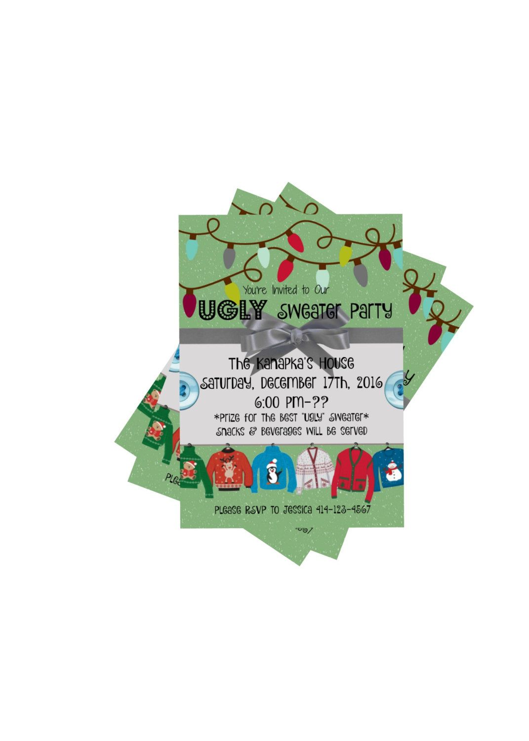 Ugly Christmas Sweater Party Invitation Green Bow Sweaters Xmas ...