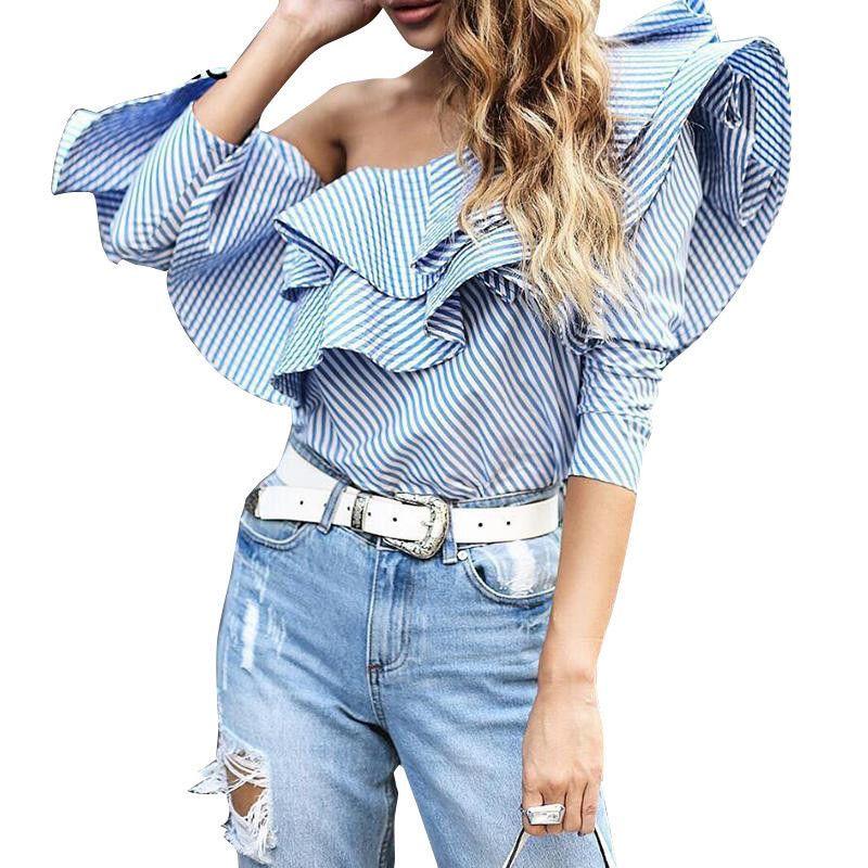 88b22332ca Ruffles Elegant Off Shoulder Tops Blouse Women s Shirt Summer Top ...