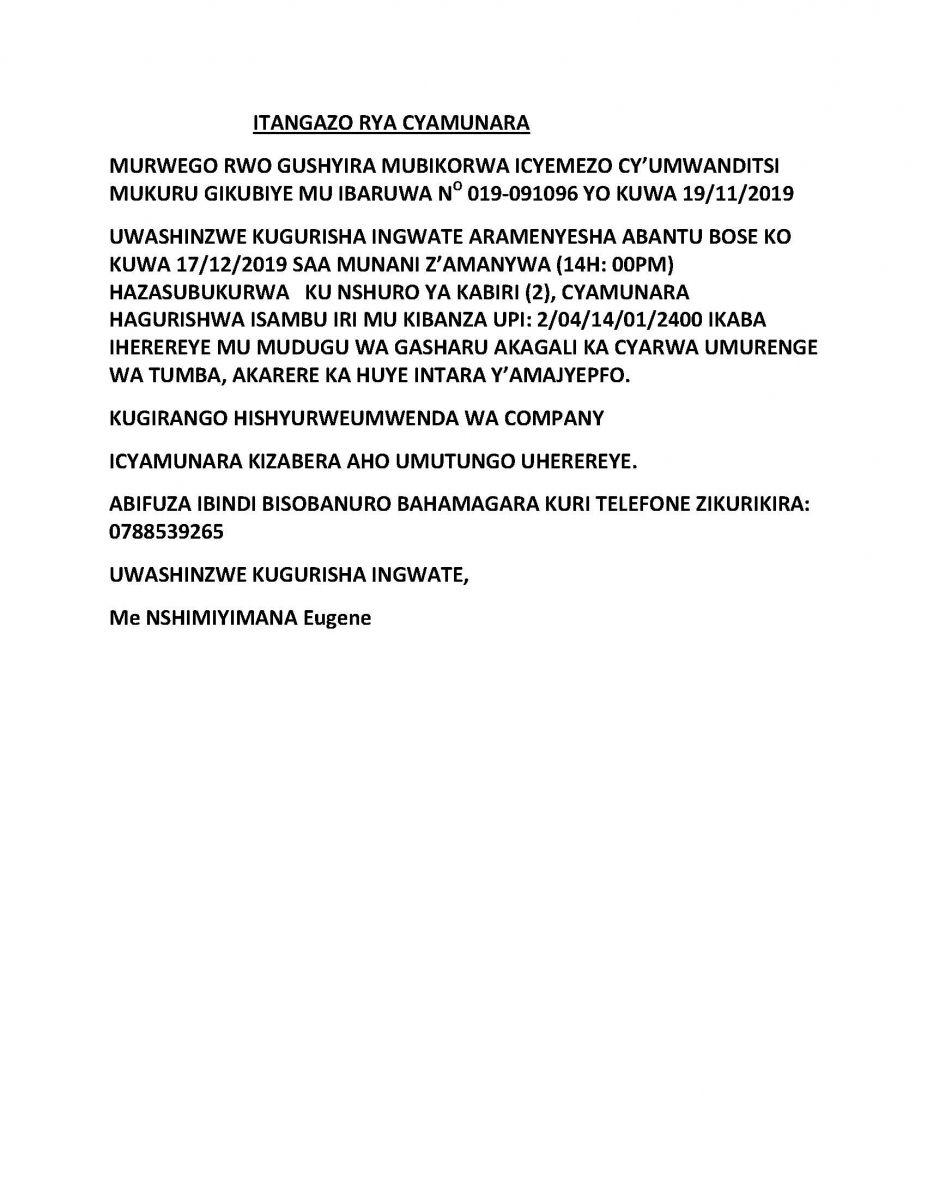 ITANGAZO RYA CYAMUNARA New times, Publishing, Words