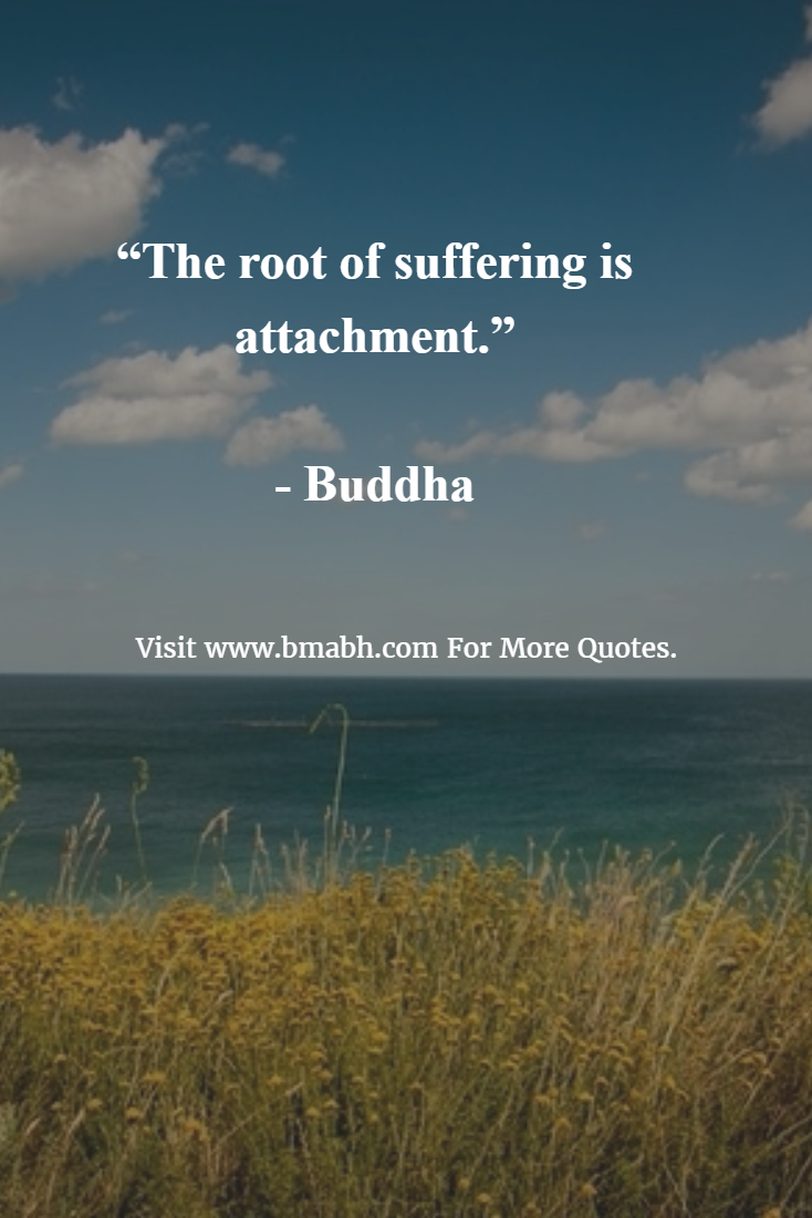 """The root of suffering is attachment."""" - Buddha   BMABH Quotes On ..."""