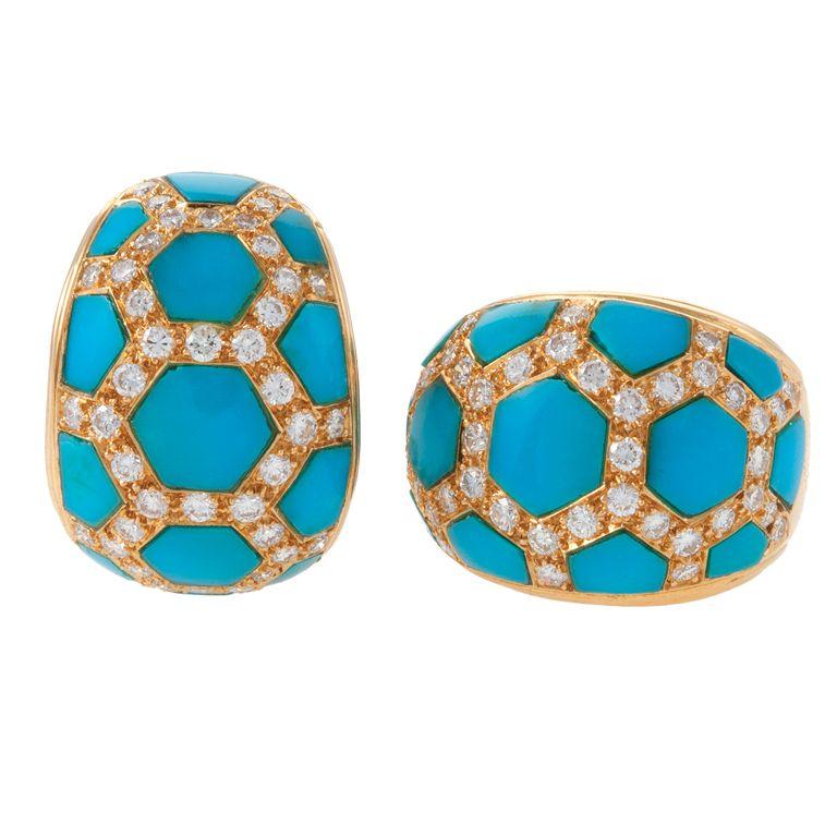 VAN CLEEF & ARPELS Turquoise Diamond Honeycomb Earclips