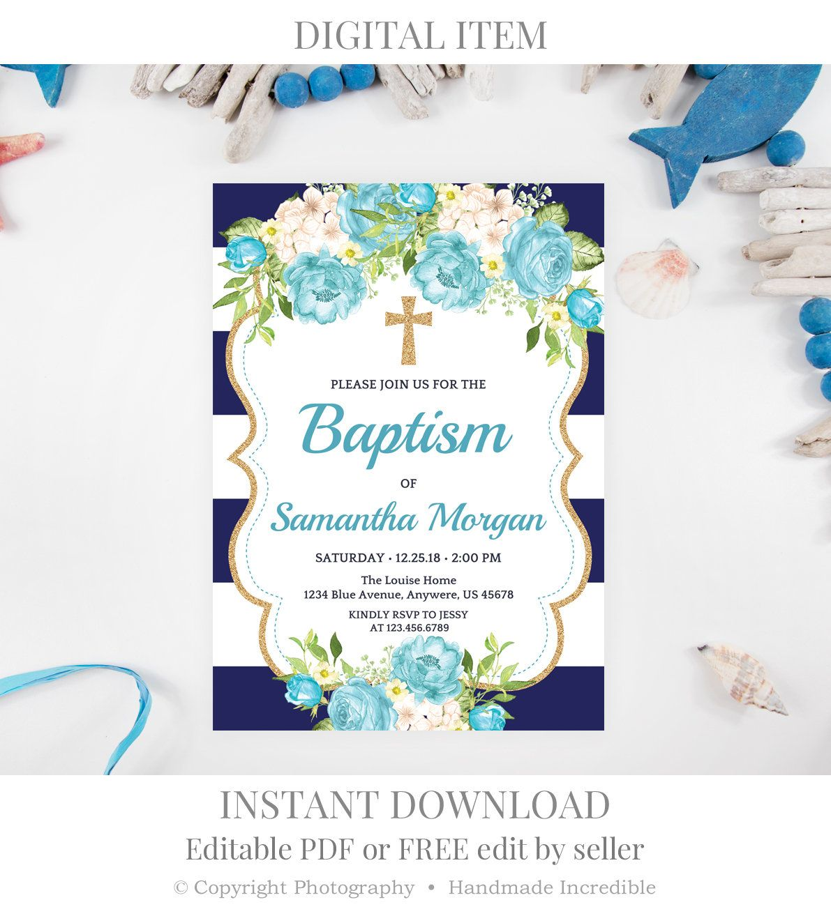 Tiffany Floral Baptism Invitation Template Printable Gold Blue