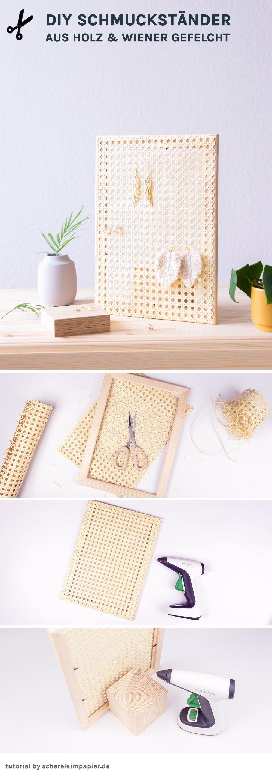 5 Minuten DIY: Schmuckständer aus Holz und Geflecht selbermachen |