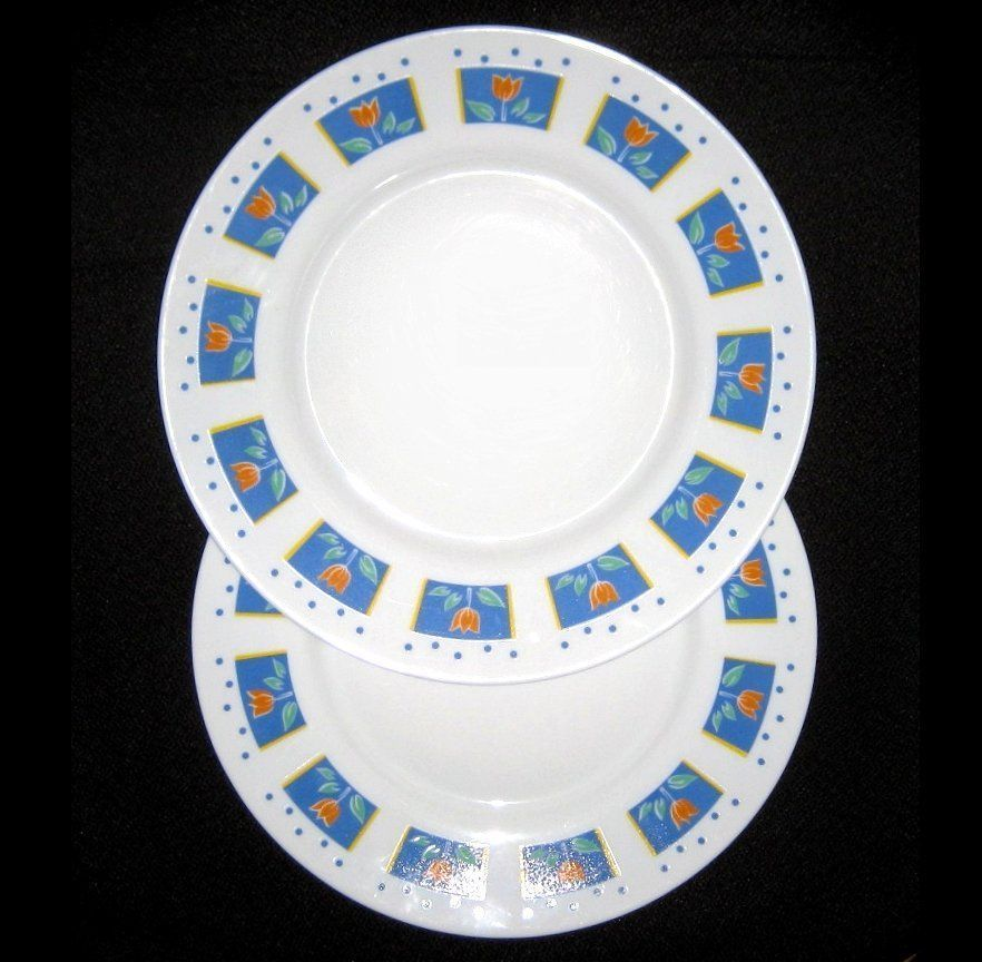 Arcopal 2 White Dinner Plates Tulips Blue Dots 9 3/4\  Vintage Retired Nice  sc 1 st  Pinterest & Arcopal 2 White Dinner Plates Tulips Blue Dots 9 3/4\