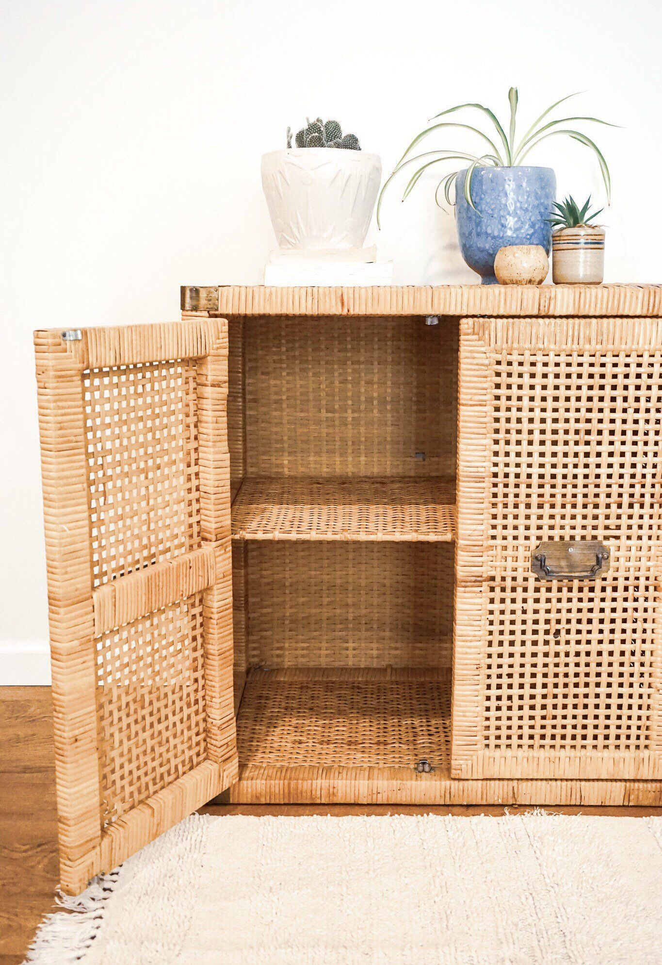 Vintage Wicker Rattan Woven Bohemian Cabinet With Brass Hardware