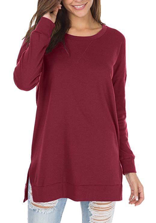 da39eafb50 levaca Women s Fall Long Sleeve Side Split Loose Casual Pullover Tunic Tops Amazon  Women s Clothing store