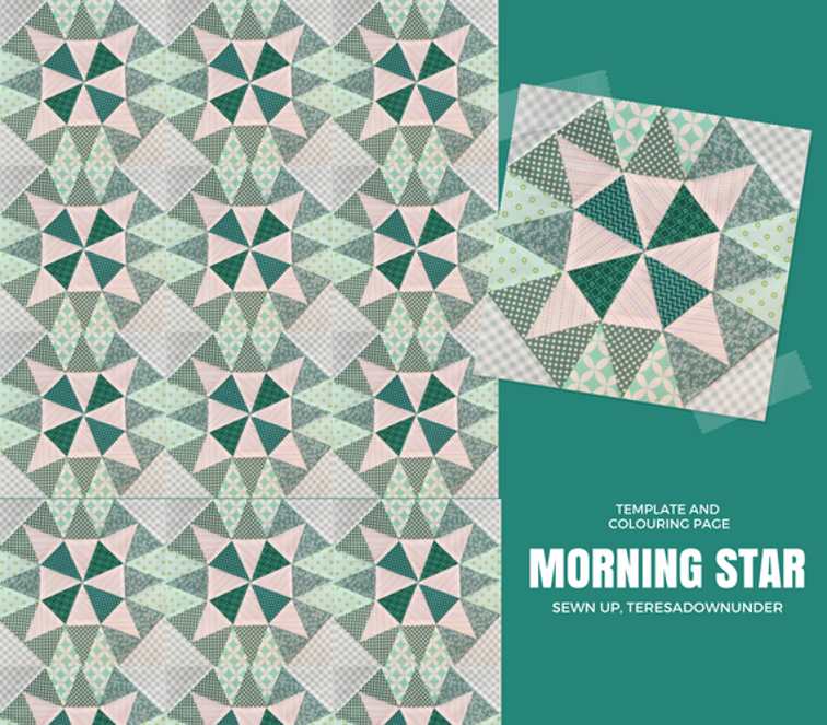 Morning Star block and colouring page   Craftsy ...