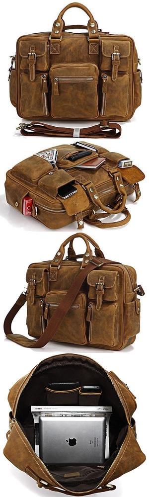 Men's Handmade Vintage Leather Business Travel Bag / Messenger / Duffle Bag / Weekend Bag