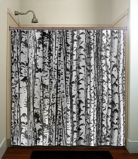 Forest Birch Tree Shower Curtain Extra Long Fabric Window Panel