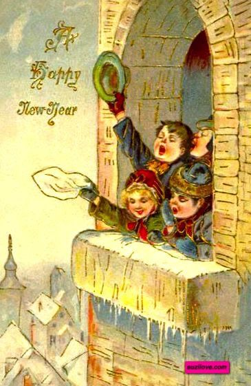 Children In A Window Wishing You A Happy New Year Vintage Card Suzilove Com Vintage Happy New Year Vintage Christmas Cards Christmas Card Illustration