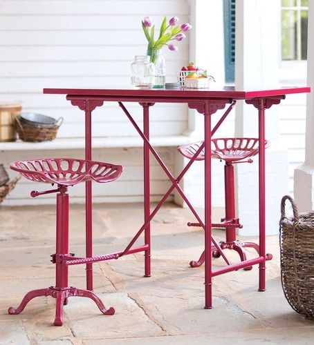 Plow And Hearth Furniture: Plow Vintage Bar Table And Tractor Seat Stool Set Garden