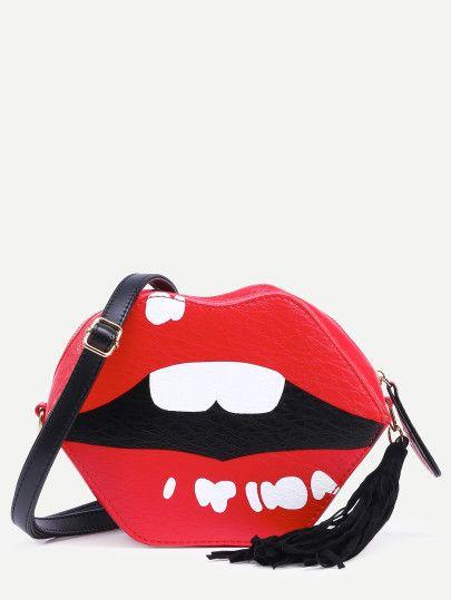 Bolso bandolera en forma de labio borlas - rojo