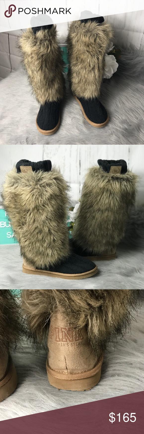 "3d6cdf6779 Pink Victoria Secret Fur Sweater Boots Size 7-8 M Pink Victoria Secret Fur Sweater  Boots Size 7-8 M Excellent Condition No Box No Trades 15"" Tall Tag Size ..."