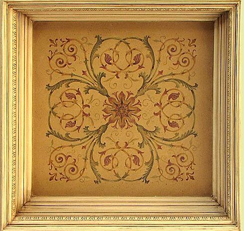 """3-overlay stencil. 3 plates 24""""x24"""" each Actual design measures 21""""x21"""".  Hermitage Acanthus Coffer - inspired by incredible painted ceilings of Hermitage Czar Palace in St. Petersburg, Russia.  *looks stunning in coffered ceiling in a library or living room.  * can also create a trompe l'oeil coffered ceiling simply by adding frame  *use acrylic, latex paint, or fabric paint, stencil creams, or plaster + foam roller or stencil brush."""