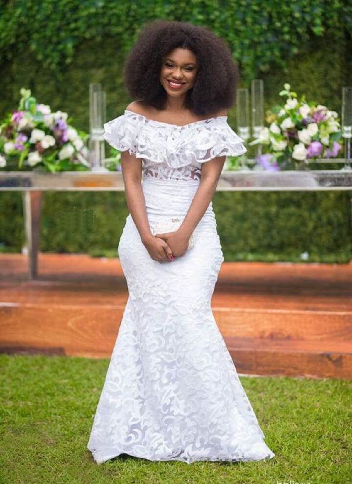 White Plus Size Lace Wedding Dress Prom Dress African Lace