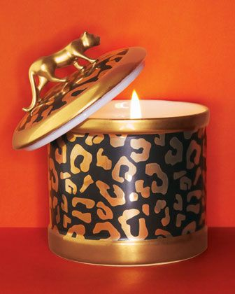 Leopard-Design Candleholder & Scented Candle by L\'Objet at Neiman Marcus.