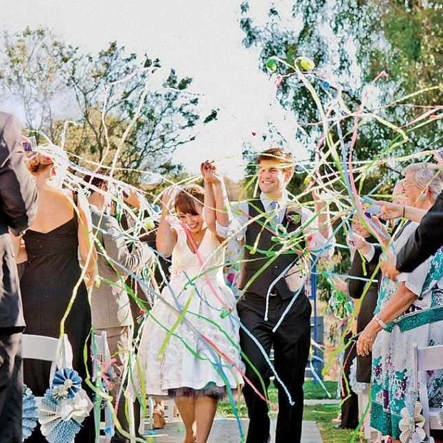 Have your guests send you off with streamers. | Wedding from Brit + ...