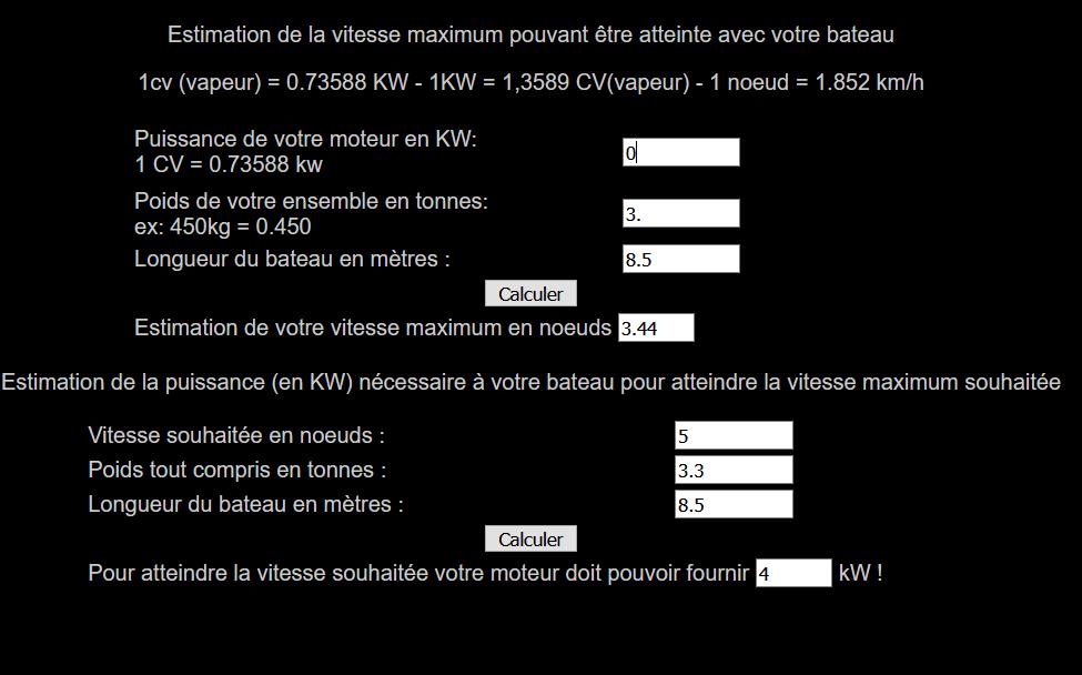 Calcul De La Vitesse Maximum Pour Un Navire De Plaisance Calcul Vitesse Moteur