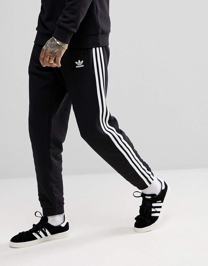 adidas Originals adicolor 3 Stripe Sweatpants In Black