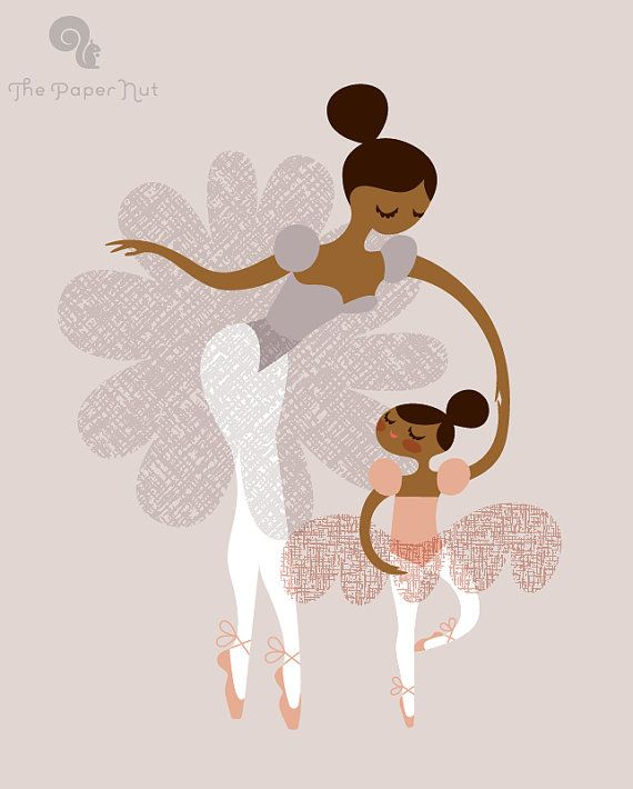 "8X10"" ballerina mother and daughter giclee print on fine art paper. mocha skin tone. ballet slipper pink, light wool gray, dusty lavender."