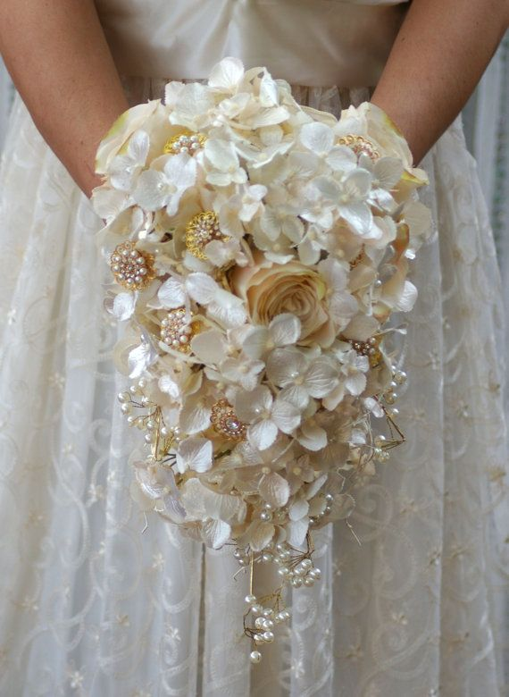 FULL PRICE Cascade Brooch Silk Bouquet Gold Ivory Champagne Cream in ... fb4f777ee3fd