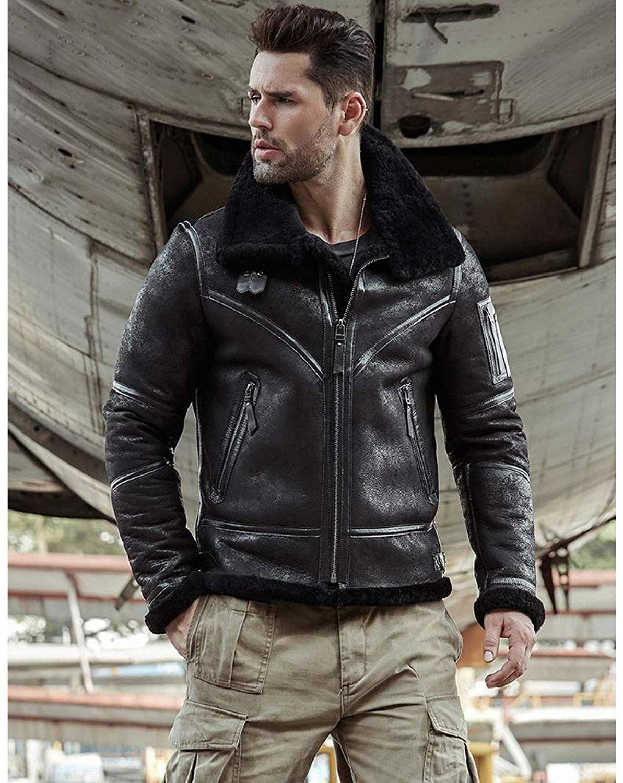 Mens Cowskin Shearling Jacket B3 Flight Jacket Aviator Winter Coat Fur Bomber