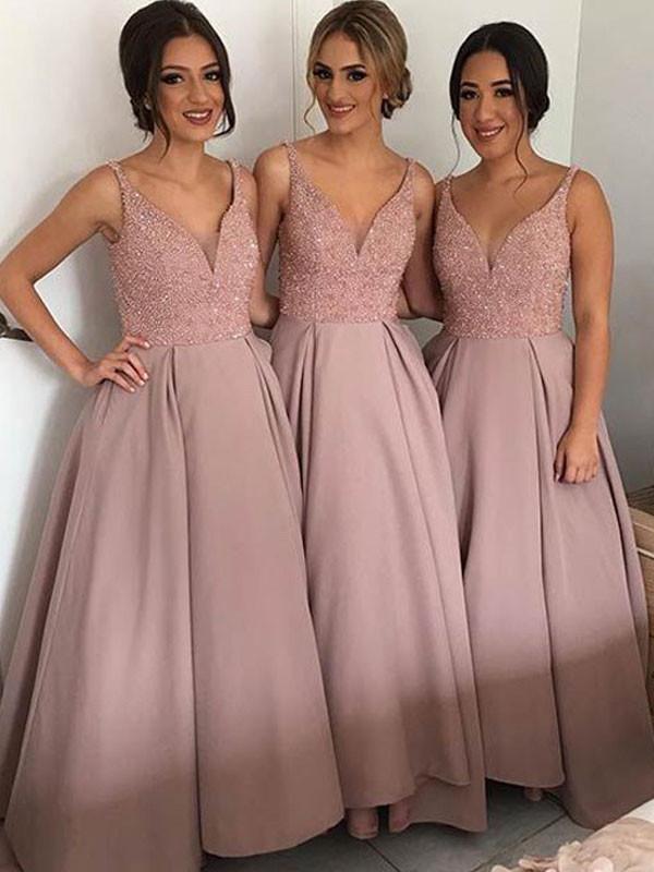 V-neck Bridesmaid Dress,Floor-length Bridesmaid Dress,Pretty ...
