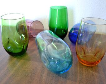Mid Century Six Color Set of Highball Glasses Tumblers