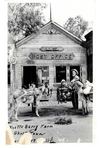 Post Office Men Donkeys Knotts Berry Farm Photo Postcards Photo