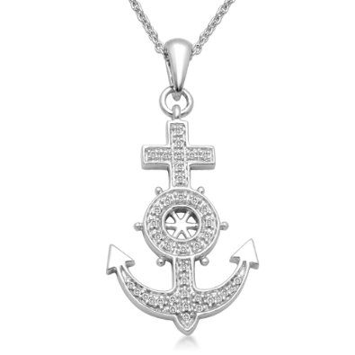 Sterling silver diamond anchor pendant necklace 18 cttw i j color sterling silver diamond anchor pendant necklace 18 cttw i j color i3 aloadofball Gallery