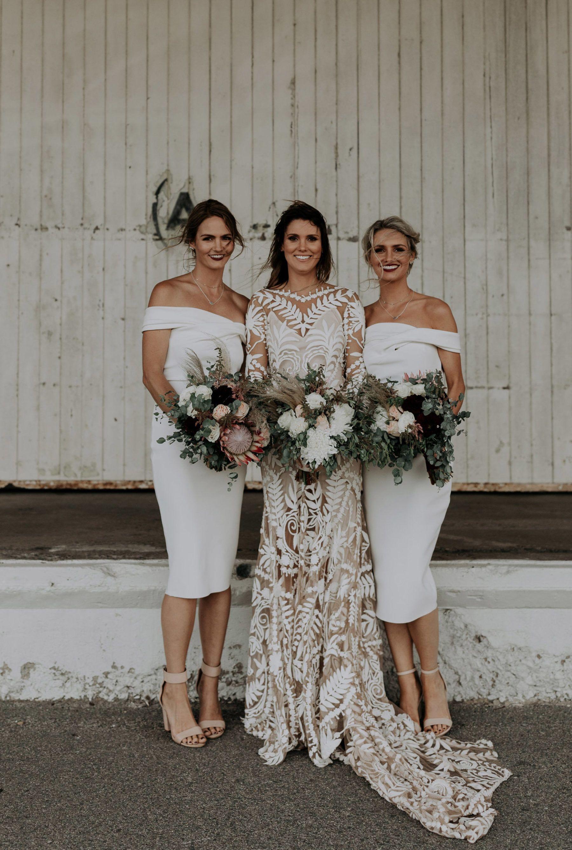 Chanelle Andy S Fremantle Wedding At Distribution Lane Nouba Com Au White Bridesmaid Dresses Bridesmaid Dresses Beige Wedding Dress [ 2674 x 1800 Pixel ]