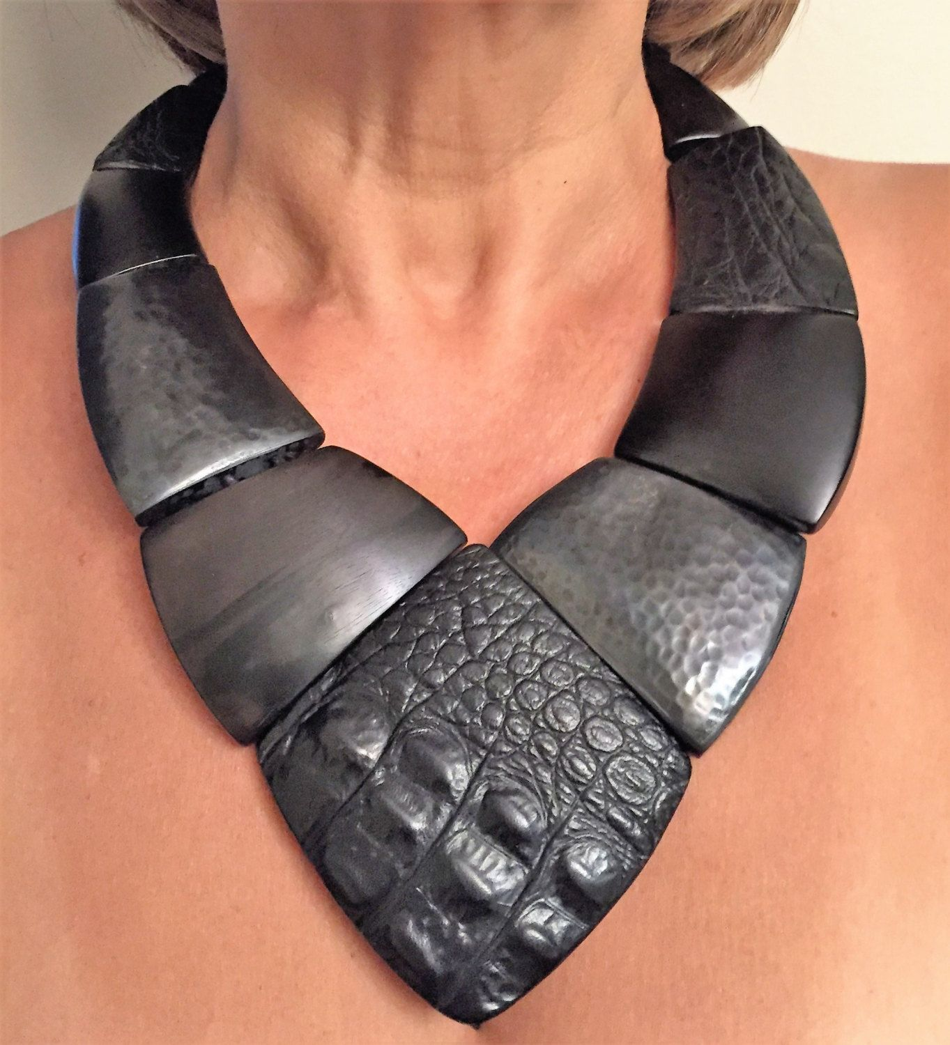 Spectacular Haute Couture Gerda Lynggaard Monies Ebony Crocodile Leather and Copper Large Necklace by GlamEpoque on Etsy