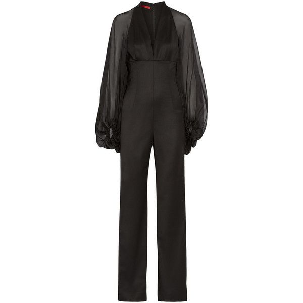 fadad59f52e Dinner Suit · Black Tuxedos · Lace Romper · Tamara Mellon Lace and chiffon-paneled  wool-blend jumpsuit ( 495) ❤ liked