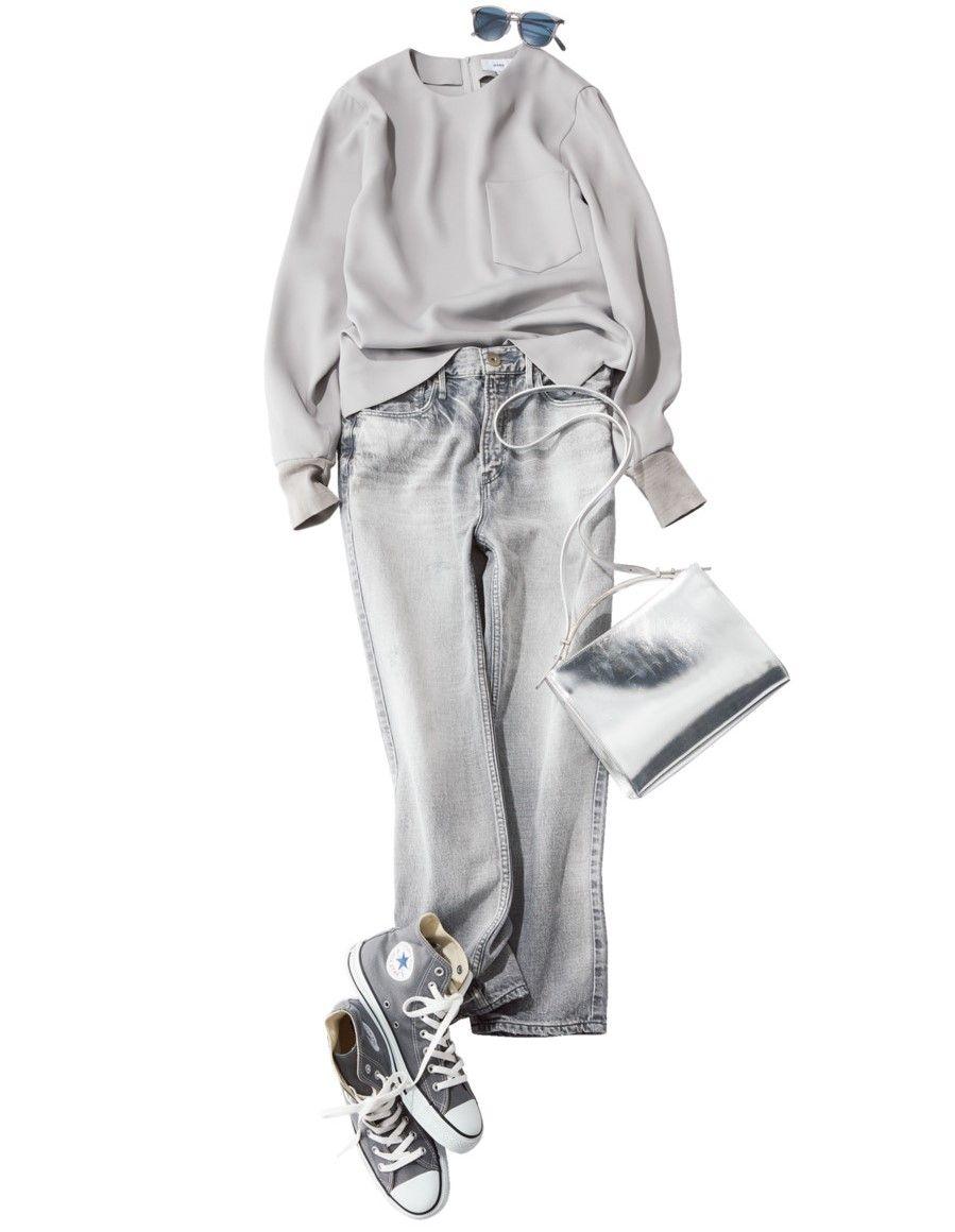 定番色コンバースがきれい見え仕様に ワントーンコーデの着こなしアイデア5選 lee ファッション コンバース ワントーン