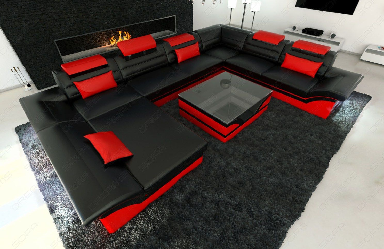 2017 Red and Black Leather Sofas; A striking and luxurious look ...