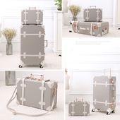 "Photo of Vintage Trunk Luggage Lien Gray ""Throw the plain black suitcase …"