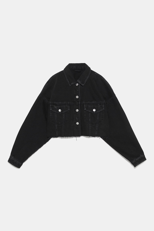 Cropped Jacket Jackets Woman Zara United States Denim Jacket Women Black Denim Jacket Crop Jacket [ 2880 x 1920 Pixel ]