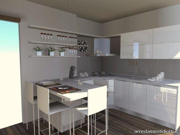 Cucina moderna con penisola bianca lucida 4 700 for Cucina moderna bianca lucida