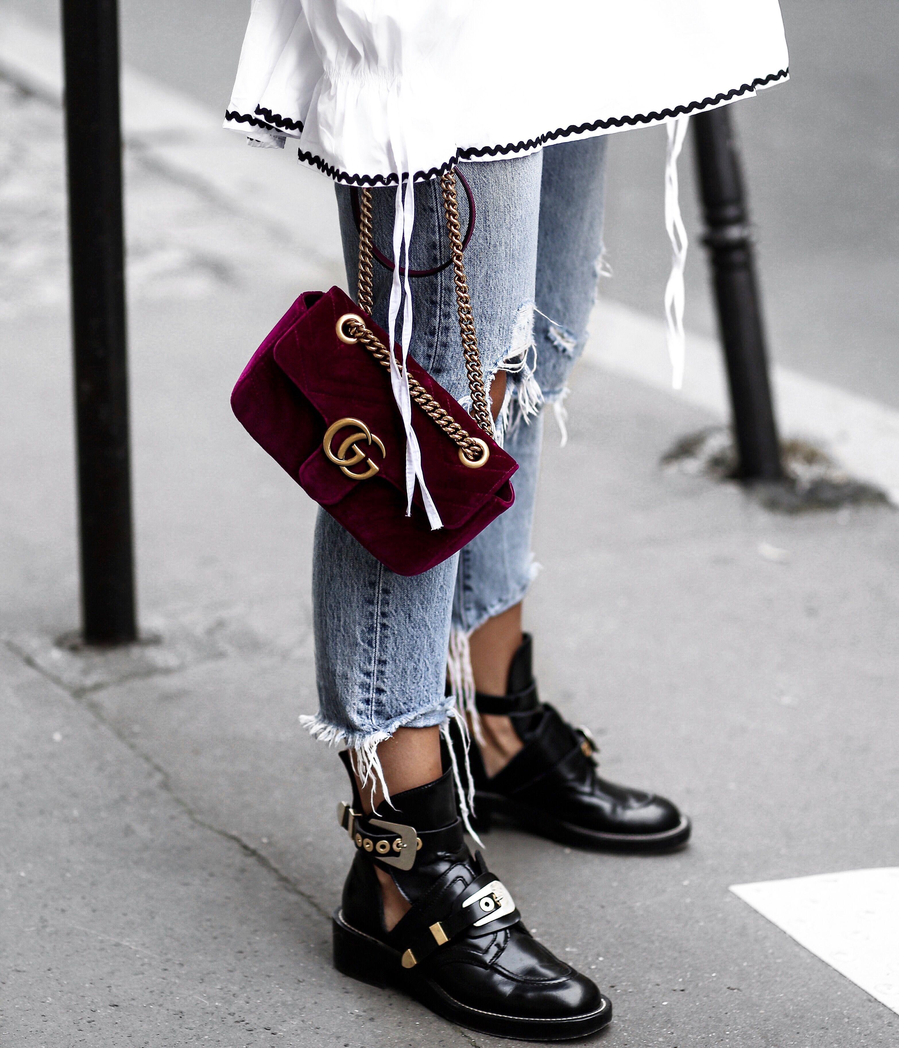Gucci velvet bag - balenciaga boots  5191f47709c