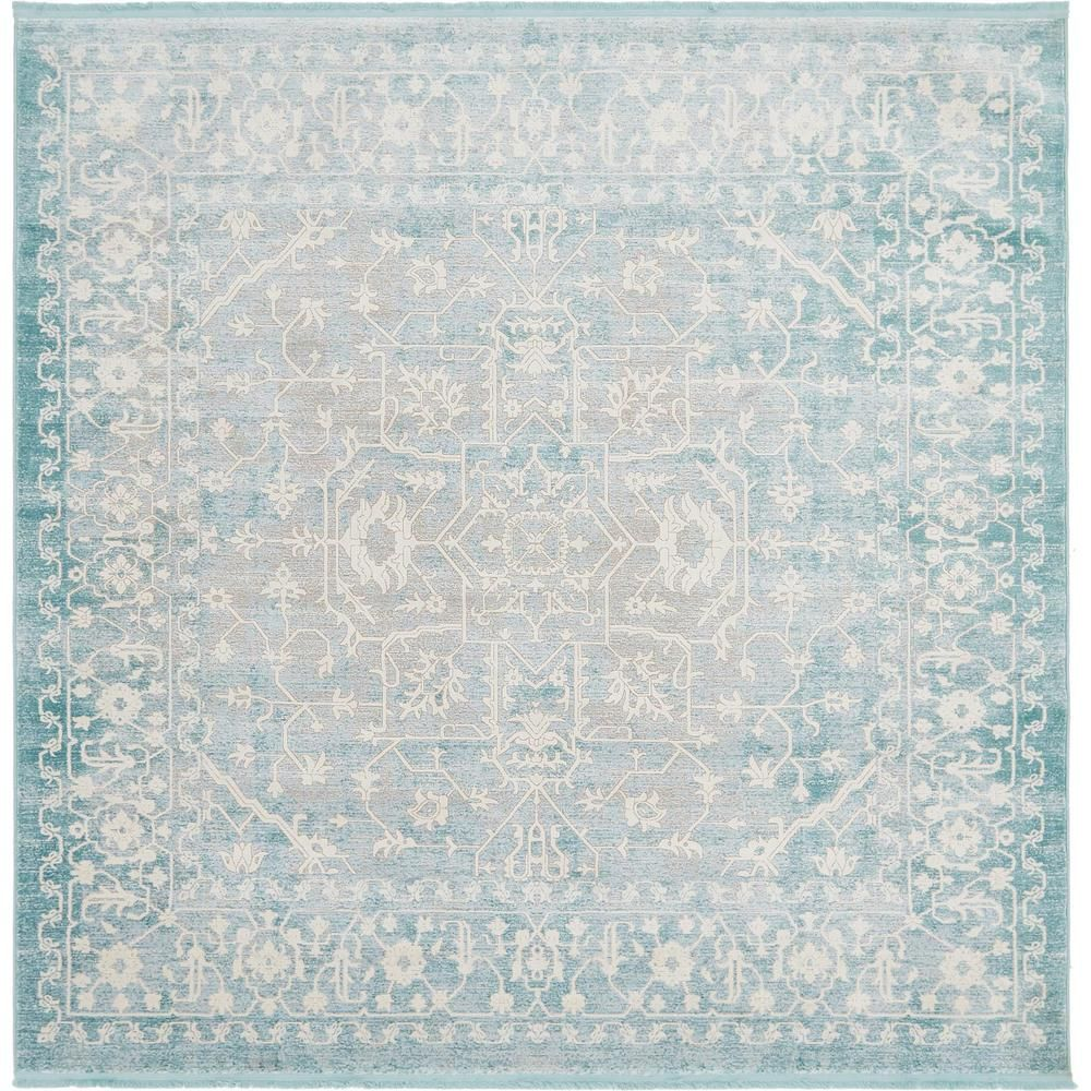 Unique Loom New Classical Light Blue 8 X 8 Square Rug In 2018