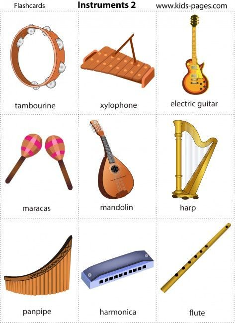 Kids Pages - FREE Printable Music Instruments Flash Cards ...