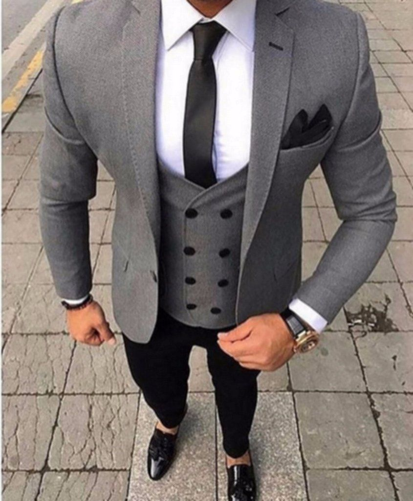brand tailored smoking grey men suit slim fit piece tuxedo